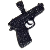 Black Iced out Gun Pendant