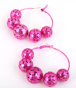 Fuschia Metal Ball Hoop Earrings