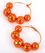 Orange Metal Ball Hoop Earrings
