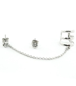 Silver Ear Cuff w Chain and Post Earrings