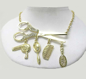 Hair Stylist Scissor Charms Necklace - Gold