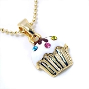 Gold Cupcake Pendant Necklace