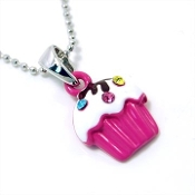 Hot Pink Cupcake Pendant Necklace