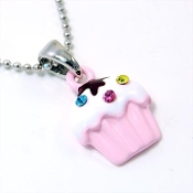 Pink Cupcake Pendant Necklace