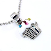 Silver Cupcake Pendant Necklace