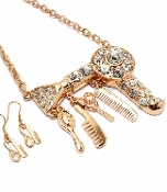 Hair Stylist Hair Dryer Charms Necklace - Gold