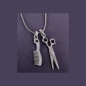 Hair Stylist Comb and Scissors Charms Necklace - Silver