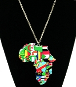 Multi Color Africa Flags Necklace