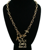 Small Gold Black Girls Rock Necklace
