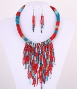 Blue - Red Seed Bead Necklace Set