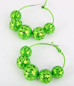 Green Metal Ball Hoop Earrings