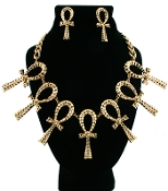 Gold Hammered Ankh Cross Necklace Set