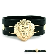 Black Leather and Gold Lionhead Bracelet