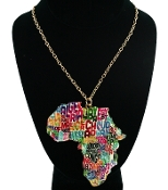 Multi Color Africa W Names Necklace