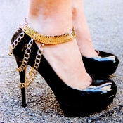 Gold Color Rhinestone Shoe Chain Anklet