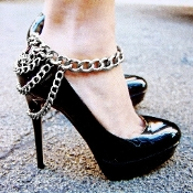 Silver Color Shoe Chain Anklet