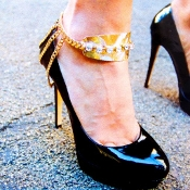 Gold Color Rhinestone Plate Shoe Chain Anklet
