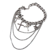 Silver Color Cross Shoe Chain Anklet