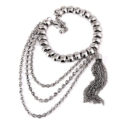 Silver Color Rhinestone Shoe Chain Anklet