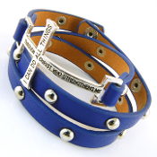 Blue Bible Verse Cross 3 Wrap Bracelet