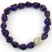 Purple Skull Crystal Ball Bracelet