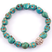 Blue Skull Crystal Ball Bracelet