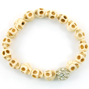 White Skull Crystal Ball Bracelet