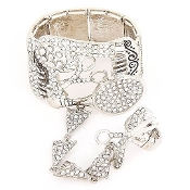Silver Salon Charm Bracelet & Ring Set