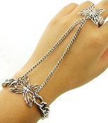 Silver color Metal  Butterfly Bracelet with Ring