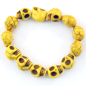 Yellow Turquoise Skull Beaded Bracelet