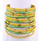 Green  and Yellow Seed Bead  Bangle
