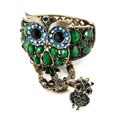 Green Acrylic Owl Bracelet and Ring