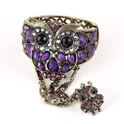 Purple Acrylic Owl Bracelet and Ring