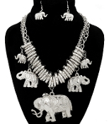 Silver Charm Elephants Necklaces