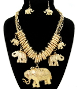 Gold Charm Elephants Necklaces