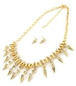 Gold Crystal, Spike Necklace