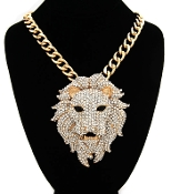 Gold Color n Crystal Lion Head Necklace