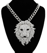 Silver Color n Crystal Lion Head Necklace
