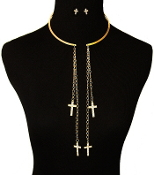 Gold color Choker with hanging Crystal Crosses