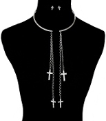 Silver color Choker with hanging Crystal Crosses