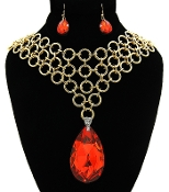 Gold Red Teardrop Necklace