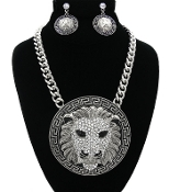 Silver Crystal Lion Medallion