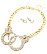 Cystal Handcuffs Necklace Set