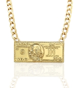 Gold $100 Bill Necklace