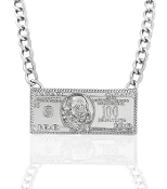 Silver $100 Bill Necklace