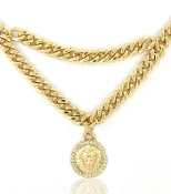 Gold Crystal Double Chain Lionhead Necklace