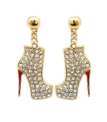 Gold Crystal High Hill Boot Earrings