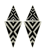 Black n White Double Triangle Crystal Earrings