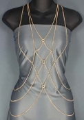Body Chain - Diamond Patterend Front - Gold