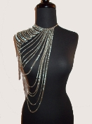 Long Drape Front and Back  Single Shoulder Chain - Silver